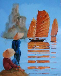 Watercolor Artists, Watercolor Paintings, Art Péruvien, Le Vietnam, Peruvian Art, Art Asiatique, Boat Art, Boat Painting, Art Japonais