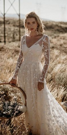 Polka Dot Long Sleeve Boho Wedding Dresses Lace Bohemian Backless Wedding Gowns - New ideas Romantic Bohemian Wedding Dresses, Western Wedding Dresses, Sexy Wedding Dresses, Bridal Dresses, Wedding Gowns, Maxi Dresses, Bohemian Bride, Bohemian Weddings, Long Sleeve Wedding Dress Boho