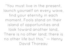 You must live in the present, launch yourself on every wave, find your eternity in each moment. Fools stand on their island of opportunities and look toward another land. There is no other land; there is no other life but this.Henry David Thoreau
