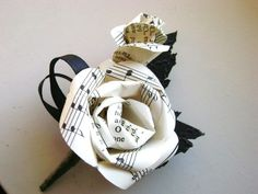 Sheet music hymnal paper rose wedding men's boutonniere buttonhole with black leaves and black ribbons recycled book - Modern Wedding Music, Rose Wedding, Wedding Men, Trendy Wedding, Diy Wedding, Wedding Ideas, Wedding Vintage, Wedding Attire, Vintage Men
