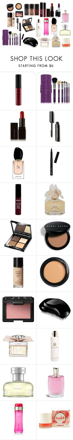 """Parfum and Cosmetics and Tangle Teezer"" by mirielanarion on Polyvore featuring uroda, Sigma Beauty, Illamasqua, Giorgio Armani, Bobbi Brown Cosmetics, Marc by Marc Jacobs, Organic Glam, Revlon, Benefit i NARS Cosmetics"