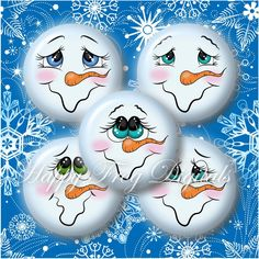 Snowmen faces 1.5 1 30 mm 25 mm circles by happyfrogdigitals