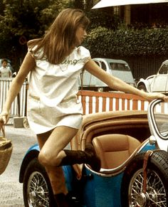 Jane Birkin hopping out of a car, 1968