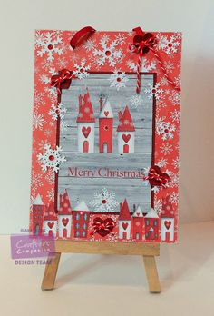 Hanging Plaque - Crafter's Companion Nordic Christmas CD: Toppers Design 2, Co-ordinating papers Design 1, colour 1, Embellishments Design 5 - Printable Light Card - Die'sire Essentials Button Box - Core'dinations cardstock: Scarlet - Large dots embossing folder - #crafterscompanion #Christmas