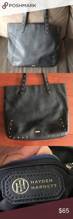 Hayden Harnett black studded tote Beautiful pre loved   ❤️ black tote. Timeless- has plenty of life left. Very strong bag, slight pilling by strap see photo reflecting price, bit doesn't effect bag at all!!! Plenty of milage to go. Excellent condition with exception of strap, which again is not breaking and fully functional. In person cannot even see. 17 inches wide,  14 high and 9 inch strap drop hayden harnett Bags Totes