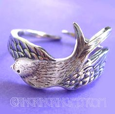 925 Bird wing ring  solid Sterling silver by RingRingRing on Etsy, $49.00