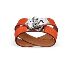 """Kelly Double Tour Hermes leather bracelet (size S) Red-orange epsom calfskin Silver and palladium plated hardware, 2.25"""" diameter, 14.5""""long, 0.5""""wide, <6.7"""" circumference."""