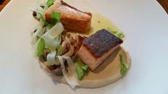 Winter 2014 salmon dish at Lure. Roasted salmon, celery root puree, cedar smoked mushrooms, celery leaves. Atlanta, GA.