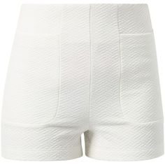 Lost Society Cream Textured High Waisted Shorts ($9.18) ❤ liked on Polyvore featuring shorts, bottoms, short, pants, cream, high-waisted shorts, slim fit shorts, highwaist shorts, high rise shorts and high waisted short shorts