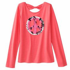 SO Sequin Peace Sign Bow-Back Tee - Girls 7-16 $11.99