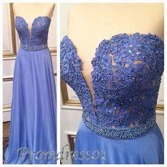 Pretty blue lace sweetheart long A-line prom dress