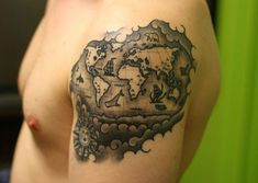 Elegant but i want an old school style tattoos pinterest map old world map tattoo this old gumiabroncs Choice Image
