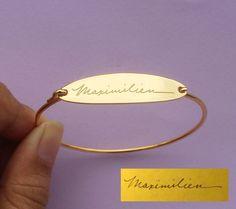 SALE 10% OFF** Handwriting Engraving Oval Shape Bracelet - Signature Bangle - Memorial Jewelry