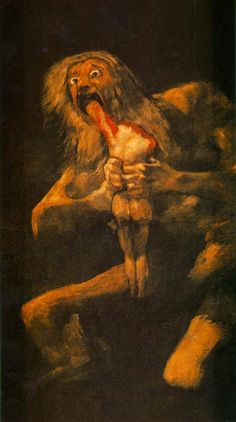 """ Saturn Devouring His Son/Children is the name given to a painting by Spanish artist Francisco Goya. It depicts the Greek myth of the Titan Cronus (in the title Romanised to Saturn), who, fearing. Francisco Goya, Creepy, Greek And Roman Mythology, Arte Horror, Horror Art, Spanish Artists, Classical Art, Romanticism, Art History"