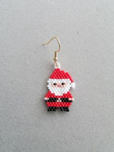 Beaded Little Santa and Mrs. Claus Earrings