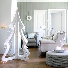 Белый новогодний декор | Фотографии красивых интерьеров