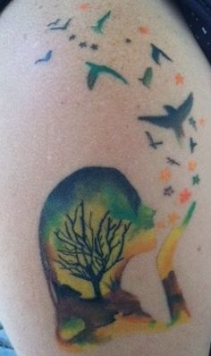 My Mother Earth tattoo. Had to put up a new pic, since I had some added to it a few weeks ago.