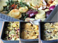 Big Farmer Breakfast with a mediterranean twist - Hearty oven baked potato omelette.