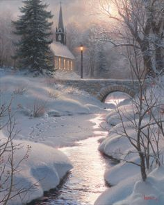 Glorious Light - Mark Keathley Bridge Painting, Painting Snow, Winter Painting, Winter Landscape, Landscape Art, Winter Szenen, Hello Winter, Merry Christmas Pictures, Christmas Time