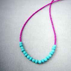 Fushia and Turquoise Necklace, Seed Bead Necklace, Beaded Strand Necklace, Simple Bead Necklace, Seed Bead Jewelry. $23.00, via Etsy.