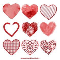 Colección de corazones en acuarela Vector Gratis