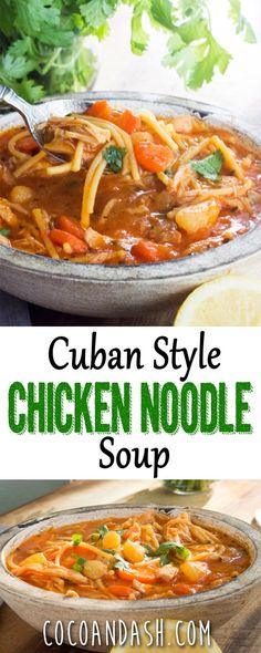 This Cuban Style chicken noodle soup is flavored with fresh lemon juice and tomato sauce and is so comforting and perfect!! I make it every time my kids are sick!! #cuban #cubanfood #soup