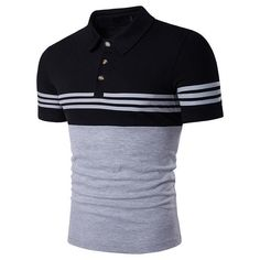 Cottory Men's Fashion Stripe Contrast Color Short Sleeve Polo T Shirt Polo Shirt Brands, Mens Polo T Shirts, Slim Fit Polo Shirts, Golf Shirts, Tees, Hipster Shirts, Casual Shirts, Polos Lacoste, Xl Shirt