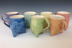 "Cheryl Krebs: ""Paisley Tripod Mugs"" Various Celadon Glazes Clay Mugs, Ceramic Mugs, Ceramic Art, Slab Pottery, Pottery Mugs, Pottery Ideas, Clay Projects, Clay Crafts, Peace By Piece"