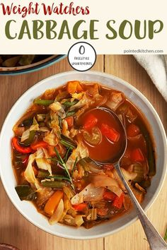 Looking for the best Weight Watchers Soup Recipes with Points? I've got an amazing collection of delicious and healthy WW Freestyle soup recipes! Weight Watchers Cabbage Soup Recipe, Weight Watcher Vegetable Soup, Cabbage Soup Recipes, Cabbage Soup Diet, Vegetable Soup Recipes, Cabbage Fat Burning Soup, Vegetable Dishes, Weight Watchers Lunches, Plats Weight Watchers