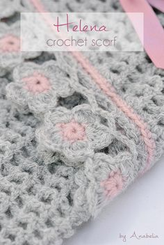 Helena crochet scarf with flowers edge, pattern