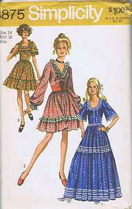 "Vintage Square Dance Costume Sewing Pattern Simplicity Sz 14 Bust 36 Hip 38"" Cut 