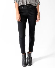 High-Waisted Zippered Denim Skinnies | FOREVER21 - 2030186998