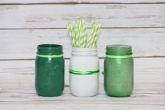 Set of 3 Ball Mason Jars - St Patricks Day Decor - Party Supplies, Center Pieces, Distressed or Non Distressed - green painted rustic decor