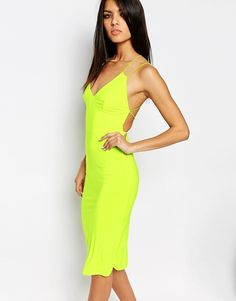 Image 2 of Club L Midi Dress With Star Cami Cross Back Strap