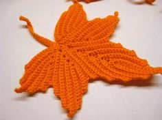 beautiful crocheted leaves