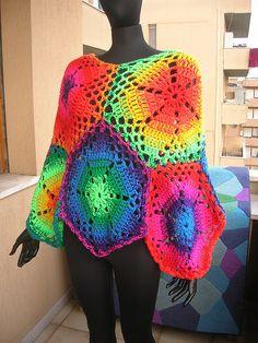 Rainbow hexagon crochet poncho - love!