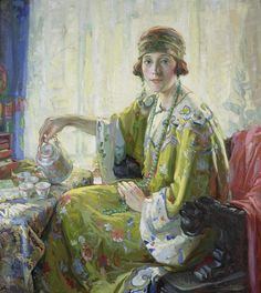 Christian von Schneidau (1893–1976) - Five o'clock tea / Portrait of Mrs. Elwood Riggs