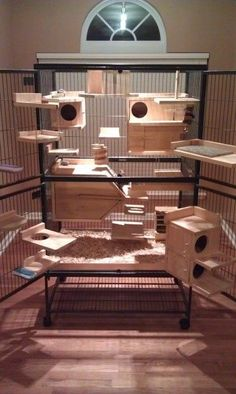 Awesome two level chinchilla cage with lots of wooden ledges and hideouts.