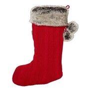 Bouclair Red Scandinavian Knit Fur Stocking
