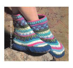 Crochet Slipper Pattern Vintage Bootie Slipper Crochet Pattern Womens PDF Instant Download- C103