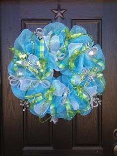 BLUE SKIES and DRAGONFLIES mesh wreath by GlitzyWreaths on Etsy, $90.00