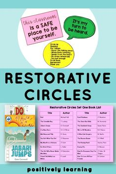 Restorative Practices Elementary - introduce restorative circles with K-2 students. There are twenty topics based on popular read aloud books. Included are teaching tips and suggestions to set up and facilitate talking circles in your classroom! From Positively Learning #restorativepractice #talkingcircles