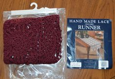 Hand Made Lace Crocheted Runner Table Runner Table Scarf Vintage Retro Cotton Crochet Table Runner Crochet Table Scarf 1985