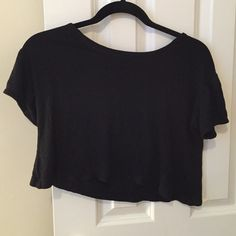 Black Cropped Tshirt Very comfortable and in great condition! Perfect for festival season Urban Outfitters Tops Crop Tops