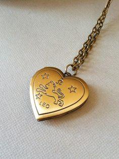 Leo Zodiac Constellation Locket Necklace - antique brass / constellation jewelry, zodiac jewelry, zodiac necklace, long boho necklace