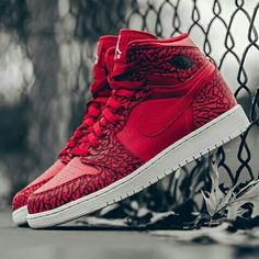 los angeles eea9d 01ef2 Red elephant print covers the latest Air Jordan 1 release. Cop or not   Jordans. Jordans SneakersNike ...