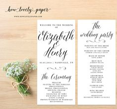 Printable Wedding Program - the Layla Collection by HowLovelyPaper on Etsy https://www.etsy.com/listing/180554837/printable-wedding-program-the-layla
