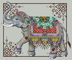Cross Stitch Charts - Jeweled Elephant Cross Stitch Pattern by Shannon Wasilieff Stitch count: by Supplies Required to stitch: DMC, Kreinik, Beads/Crystals as listed Cross Stitch Borders, Cross Stitch Kits, Cross Stitch Charts, Cross Stitch Designs, Cross Stitching, Cross Stitch Patterns, Learn Embroidery, Cross Stitch Embroidery, Embroidery Patterns