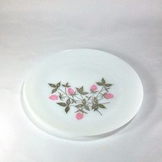 Fire King Milk Glass Cake Plate with Pink Clover