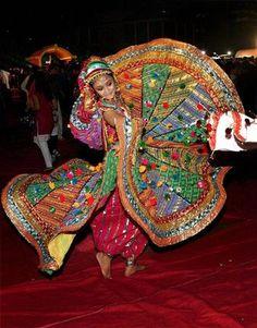 An artist performing at  Navratri festival in Mumbai